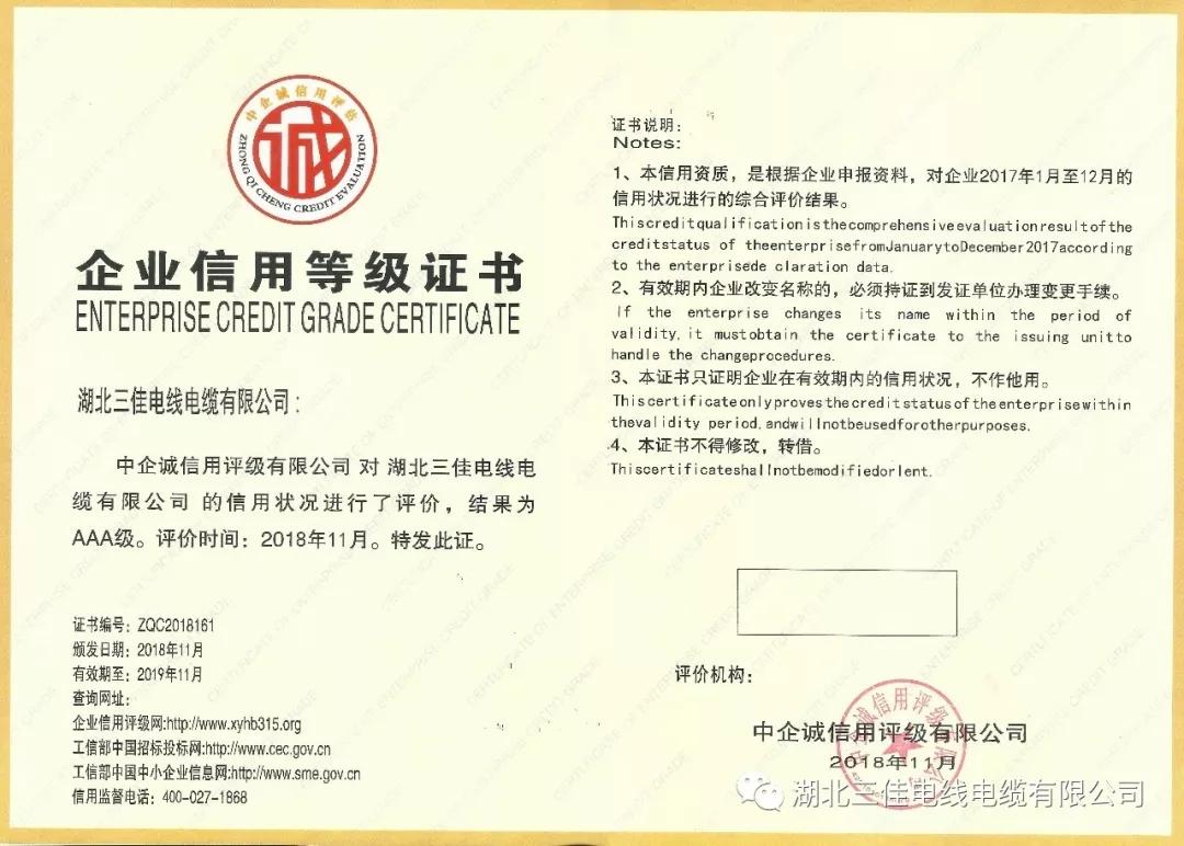 祝贺:湖北三佳电线必威体育备用网址滚球有限公司通过企业信用评级